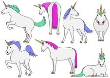 Cute and simple unicorn doodle drawing set. Cute unicorn doodle drawing set, making various poses vector illustration