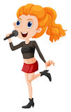 A cute singer. Illustration of a cute singer on a white background Royalty Free Stock Photography