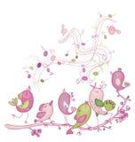 Cute singing birds vector illustration