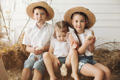 Cute sisters and brother in hay hats resting on hay royalty free stock photography