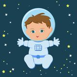 Cute sitting baby boy astronaut in a spacecuit and helmet. Isolated on a stary dark blue sky background. Children dream job, future profession. Cartoon vector Royalty Free Stock Photos