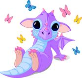 Cute sitting baby dragon Stock Image