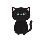 Cute sitting black cartoon cat with moustache whisker. Funny character. White background. . Flat design. stock illustration