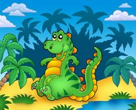 Cute sitting dinosaur with palms Royalty Free Stock Photography