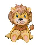 Cute sitting lion cartoon. Cute  sitting lion cartoon  isolated, hand drawing Stock Photography