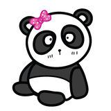 Cute sitting panda with bow vector illustration