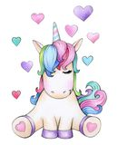 Cute sitting unicorn cartoon with hearts. Cute sitting unicorn cartoon with hearts, isolated on white vector illustration