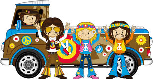 Cute Sixties Flower Power Hippies and Van. Embrace the Flower Power Age of the Sixties with these Super Cute Cartoon Hippies and Camper Van - Vector Illustration Stock Photo