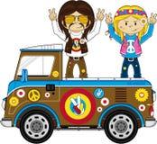 Cute Sixties Flower Power Hippies and Van. Embrace the Flower Power Age of the Sixties with these Super Cute Cartoon Hippies and Camper Van - Vector Illustration Royalty Free Stock Photo