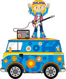 Cute Sixties Hippie Girl Musician on Camper Van. Embrace the Flower Power Age of the Sixties with this Cute Cartoon Hippie Girl with Guitar and Amp - Vector Royalty Free Stock Image