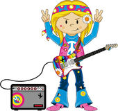 Cute Sixties Hippie Girl Musician Stock Images