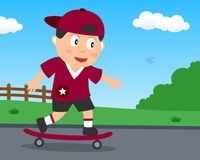 Cute Skateboarder Boy Playing in the Park Stock Images