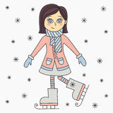Cute skating brunette girl character Stock Images