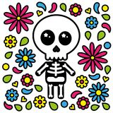 Cute skeleton character day of the dead flowers background. Vector Royalty Free Stock Photos