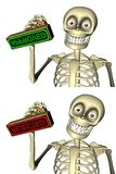 Cute skeleton officer gives stamp Royalty Free Stock Image