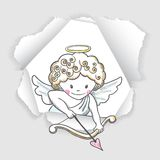 Cute sketch Cupid Stock Photo