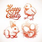 Cute sketch Easter set Stock Photos