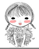 Cute sketch girl Stock Photography