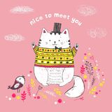 Cute sketch white cat with hat, bow, wearing a knitted pullover with ethnic pattern, bird, flowers. Vector illustration of cute sketch white cat with hat, bow Stock Photos
