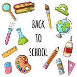 Cute sketchy back to school icons Stock Image