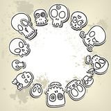 Cute sketchy skulls. Grungy background with different cute sketchy  skulls Stock Image