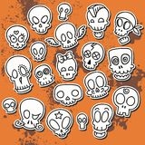 Cute sketchy skulls Stock Photo
