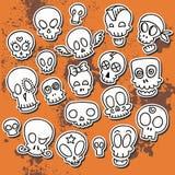 Cute sketchy skulls. 9 simple cute sketchy skulls, vector illustration Stock Photo
