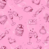 Cute sketchy Valentine's day seamless pattern royalty free stock photo