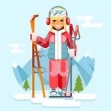 Cute skier girl ski winter sport resort holidays skiing mountain flat design vector illustration Royalty Free Stock Photography