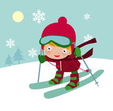 Cute  skiing boy Stock Photography