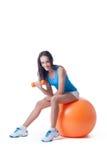 Cute skinny girl doing aerobics,  on white Royalty Free Stock Photos