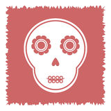 Cute skull with abstract flowers on a square ragged pink  Royalty Free Stock Images