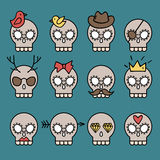 Cute skull set Royalty Free Stock Images