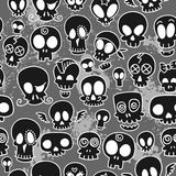 Cute skulls pattern. Seamless pattern with different cute sketchy  skulls Royalty Free Stock Photos