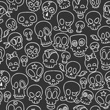Cute skulls pattern. Seamless pattern with different cute sketchy  skulls Stock Photography