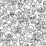 Cute skulls pattern. Seamless pattern with different cute sketchy  skulls Stock Image
