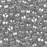 Cute skulls pattern. Seamless pattern with different cute sketchy  skulls Stock Images