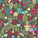 Cute skulls seamless pattern. Stock Images
