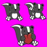 Cute skunk baby cartoon set Royalty Free Stock Photo