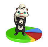 Cute Skunk cartoon character with circle sign Royalty Free Stock Photo