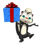 Cute Skunk cartoon character with giftbox Royalty Free Stock Photos