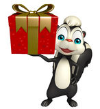 Cute Skunk cartoon character with giftbox Stock Photography