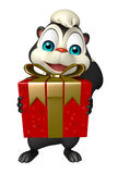 Cute Skunk cartoon character with giftbox Royalty Free Stock Photo
