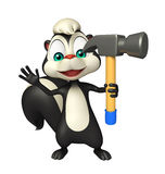 Cute Skunk cartoon character with hammer Stock Photography