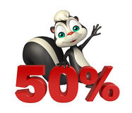 Cute Skunk cartoon character with 50% sign Royalty Free Stock Images