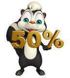 Cute Skunk cartoon character with 50% sign Royalty Free Stock Photo