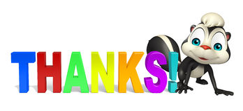 Cute Skunk cartoon character  with thanks sign Stock Images
