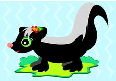 Cute Skunk with Flower Stock Image