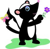 Cute Skunk with Flower and Butterfly Royalty Free Stock Photo