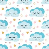 Cute sky pattern. Seamless vector design with smiling, sleeping moon, hearts, stars and clouds. Baby illustration. Cute sky pattern. Seamless vector design with stock illustration